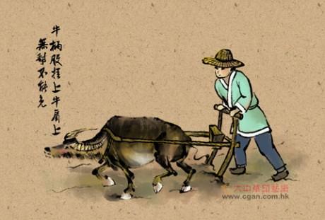 牛柄股挂上牛肩上,无犁不能免